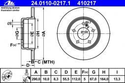 ATE disc frână punte spate 24.0110-0217.1