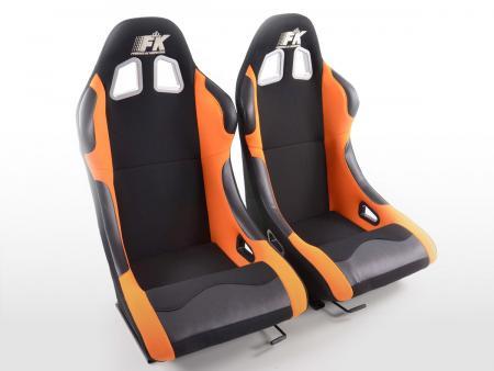 FK Sportsitze Auto Vollschalensitze Set Los Angeles in Motorsport-Optik schwarz/orange