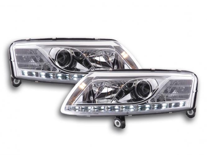 Scheinwerfer Set Daylight LED Tagfahrlicht Audi A6 Typ 4F Bj. 04-08 chrom
