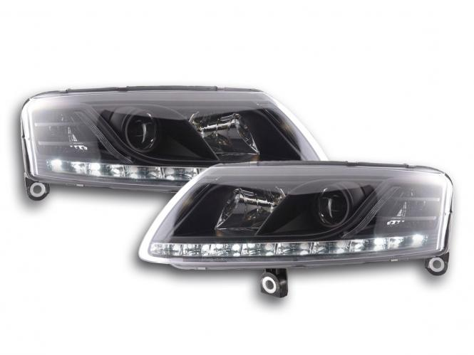 Scheinwerfer Set Daylight LED Tagfahrlicht Audi A6 Typ 4F Bj. 04-08 schwarz