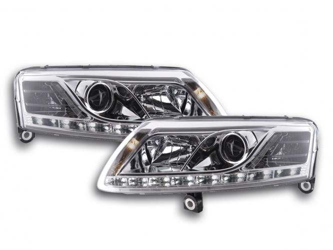 Scheinwerfer Set Xenon Daylight LED Tagfahrlicht Audi A6 Typ 4F Bj. 04-08 chrom