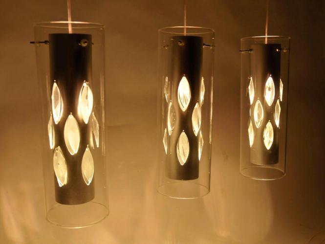 Deckenleuchte Pendelleuchte Torino mit Glaselementen Silber/Weiß