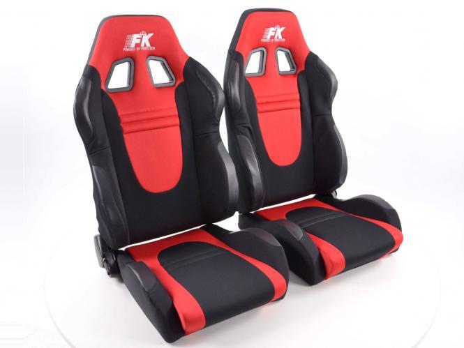 FK Sportsitze Auto Halbschalensitze Set Racecar Stoff schwarz/rot