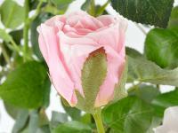 Kunstrose mit 6 Blüten und 3 Knospen rose