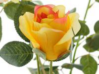 Kunstrose mit 3 Blüten und 3 Knospen gelb