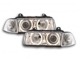 Xenon Scheinwerfer Set Angel Eyes Optik BMW 3er Coupe Typ E36 Baujahr 92-98 chrom
