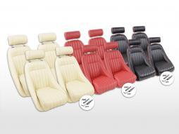 FK Oldtimersitze Auto Vollschalensitze Set Classic 2 mit Kopfstütze [verschiedene Farben] mit oder ohne Laufschienen
