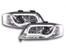 Scheinwerfer Set Daylight LED Tagfahrlicht Audi A6 Typ 4B Bj. 97-01 chrom