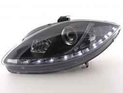 Scheinwerfer Set Daylight LED TFL-Optik Seat Leon Typ 1P / Altea/Toledo Typ 5P schwarz