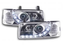Scheinwerfer Set Daylight LED TFL-Optik VW Bus Typ T4 Bj. 90-03 chrom für Rechtslenker