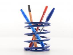 Soporte para bolígrafo FK, caja de bolígrafo con resorte, diseño de carreras, azul