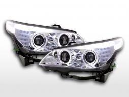 Faruri xenon angel eyes LED BMW seria 5 E60 / E61 05-07 crom