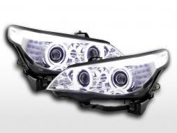 Set faruri xenon angel eyes CCFL BMW seria 5 E60 / E61 03-04 crom pentru volan pe dreapta