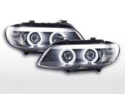 Headlight set Xenon Daylight CCFL DRL look BMW X5 E53 03-06 black