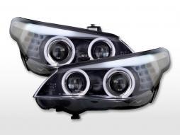 Faruri xenon angel eyes BMW seria 5 E60 / E61 07-10 negru