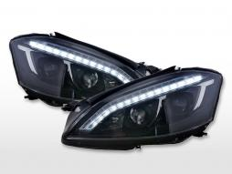 Scheinwerfer Set Daylight LED TFL-Optik Mercedes-Benz S-Klasse (221)  05-09 schwarz