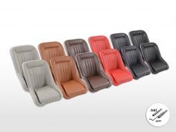 Scaune auto clasice FK, scaune cu cupă completă, set look retro 2 [culori diferite] inclusiv șine de rulare
