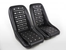 FK Oldtimersitze Auto Vollschalensitze Set Classic 1 Kunstleder schwarz ohne Kopfstütze ohne Laufschienen