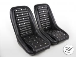 FK Oldtimersitze Auto Vollschalensitze Set Classic 1 Kunstleder schwarz ohne Kopfstütze inkl. Laufschienen